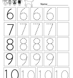 Practice Writing Numbers Worksheet - Free Kindergarten Math Worksheet for  Kids [ 1035 x 800 Pixel ]