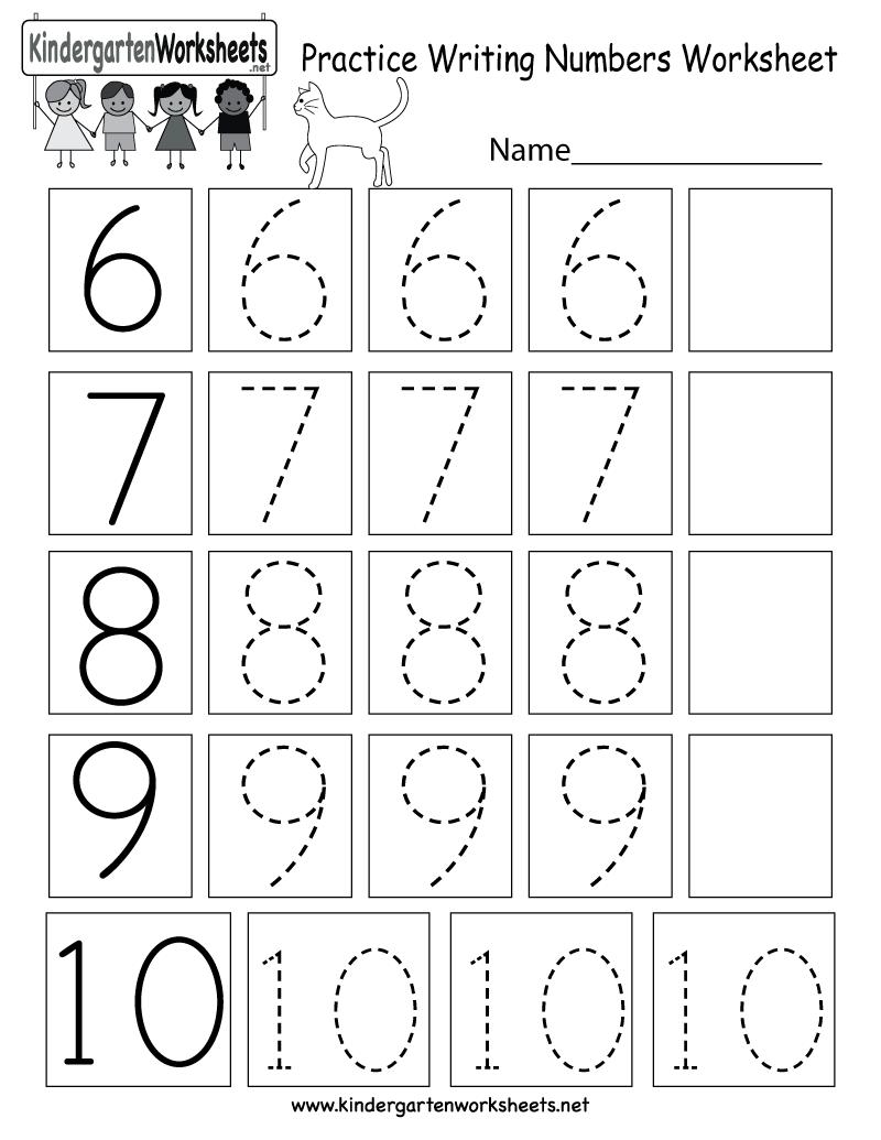 medium resolution of Practice Writing Numbers Worksheet - Free Kindergarten Math Worksheet for  Kids