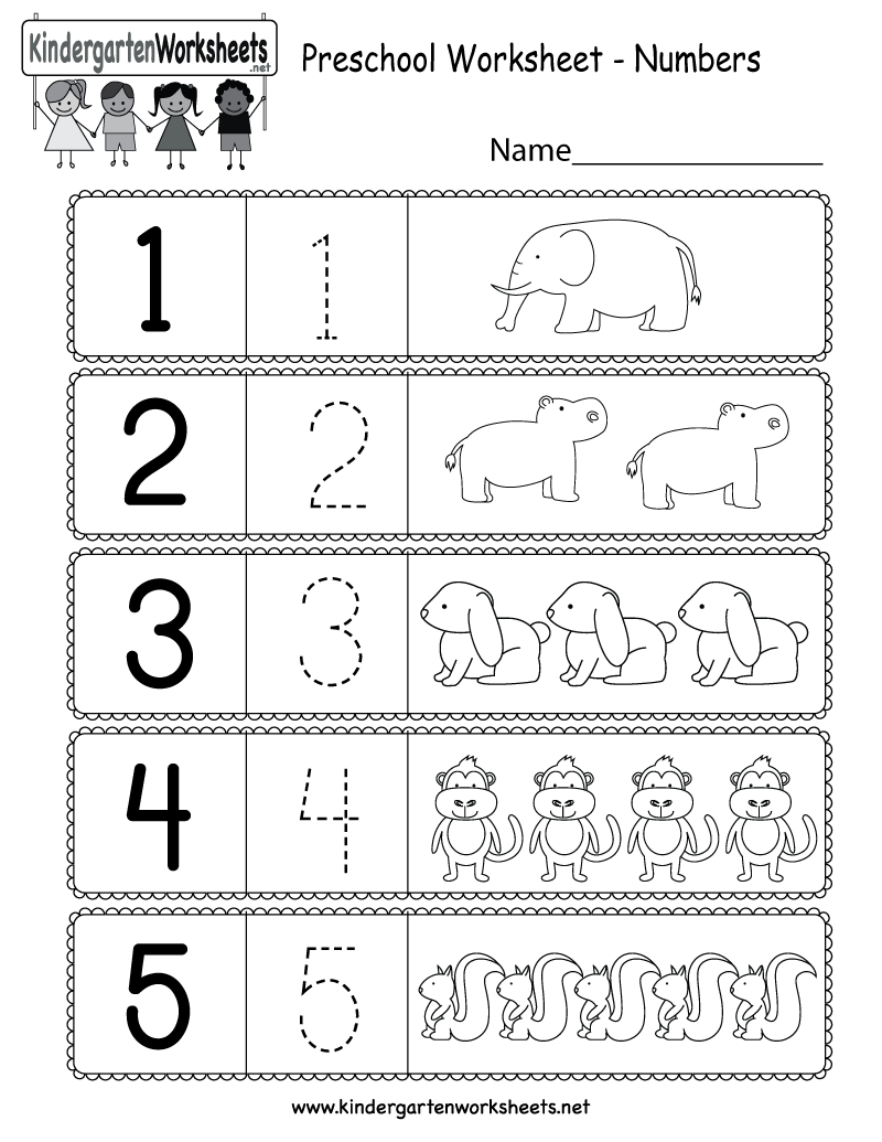 medium resolution of Preschool Worksheet Using Numbers - Free Kindergarten Math Worksheet for  Kids