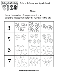 Printable Numbers Worksheet