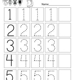 Traceable Numbers Worksheet - Free Kindergarten Math Worksheet for Kids [ 1035 x 800 Pixel ]