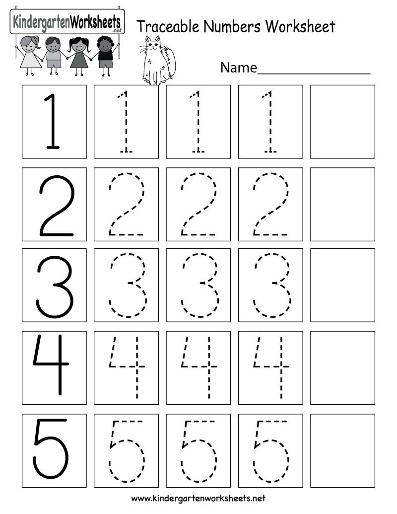 medium resolution of Traceable Numbers Worksheet - Free Kindergarten Math Worksheet for Kids