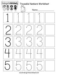 Traceable Numbers Worksheet - Free Kindergarten Math ...