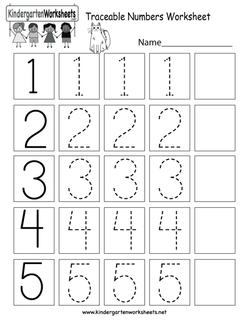 small resolution of Traceable Numbers Worksheet - Free Kindergarten Math Worksheet for Kids