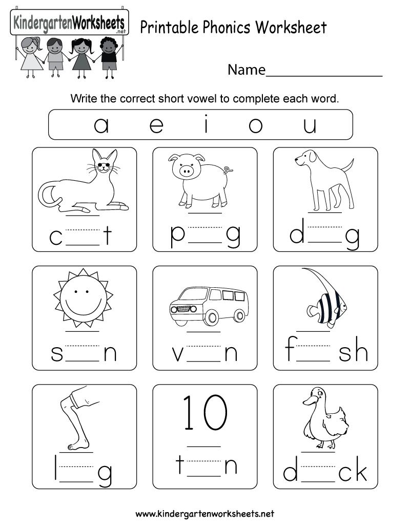 hight resolution of Printable Phonics Worksheet - Free Kindergarten English Worksheet for Kids