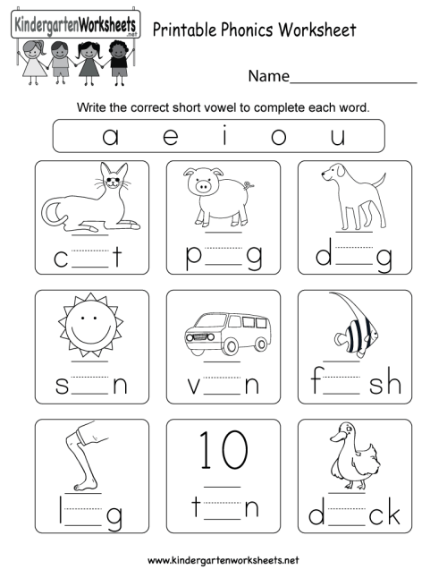 small resolution of Printable Phonics Worksheet - Free Kindergarten English Worksheet for Kids