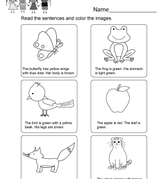 Printable Kindergarten Reading Worksheet - Free English Worksheet for Kids [ 1035 x 800 Pixel ]