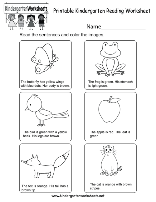 small resolution of Printable Kindergarten Reading Worksheet - Free English Worksheet for Kids