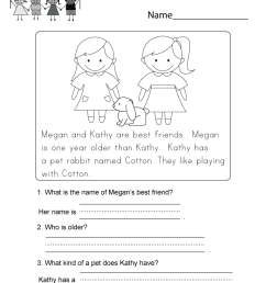 Reading Comprehension Worksheet - Free Kindergarten English Worksheet for  Kids [ 1035 x 800 Pixel ]