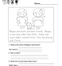 Reading Comprehension Worksheet - Free Kindergarten English Worksheet for  Kids [ 1035 x 800 Pixel ]