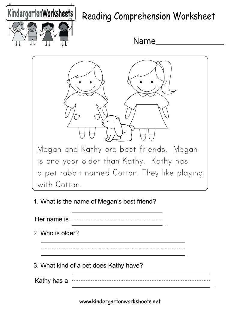 hight resolution of Reading Comprehension Worksheet - Free Kindergarten English Worksheet for  Kids