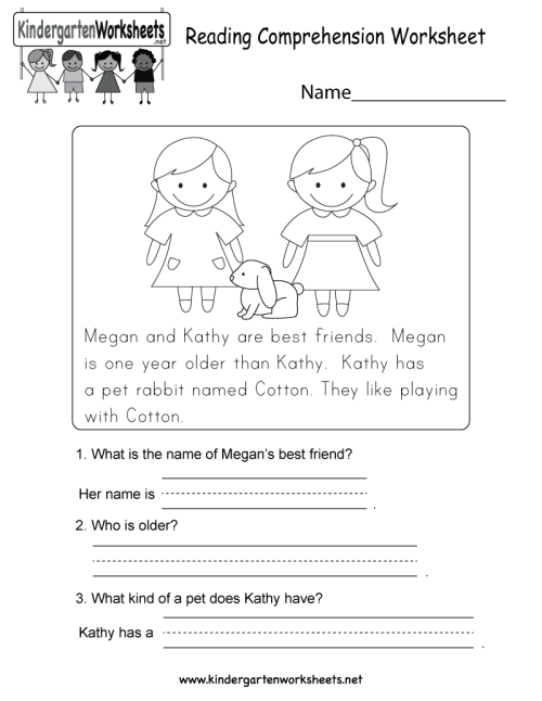 small resolution of Reading Comprehension Worksheet - Free Kindergarten English Worksheet for  Kids