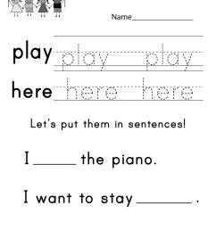 Teaching Sight Words Worksheet - Free Kindergarten English Worksheet for  Kids [ 1035 x 800 Pixel ]
