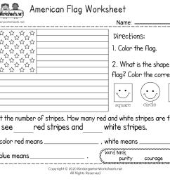 American Flag Worksheet for Kindergarten - Free Printable [ 800 x 1035 Pixel ]