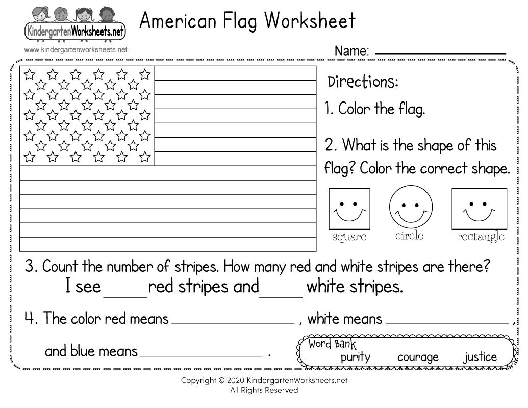 hight resolution of American Flag Worksheet for Kindergarten - Free Printable