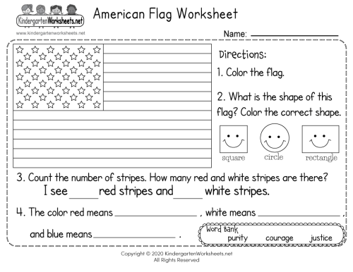 small resolution of American Flag Worksheet for Kindergarten - Free Printable