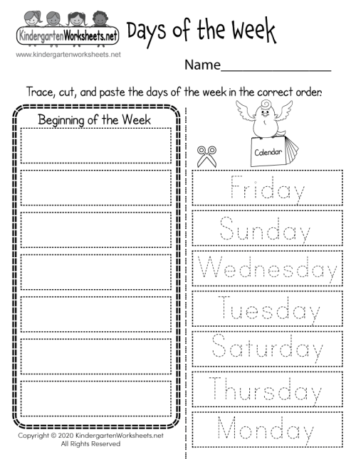 small resolution of Days of the Week Worksheet - Free Printable