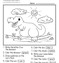 Following Directions Worksheet for Kindergarten - Free Printable [ 1035 x 800 Pixel ]