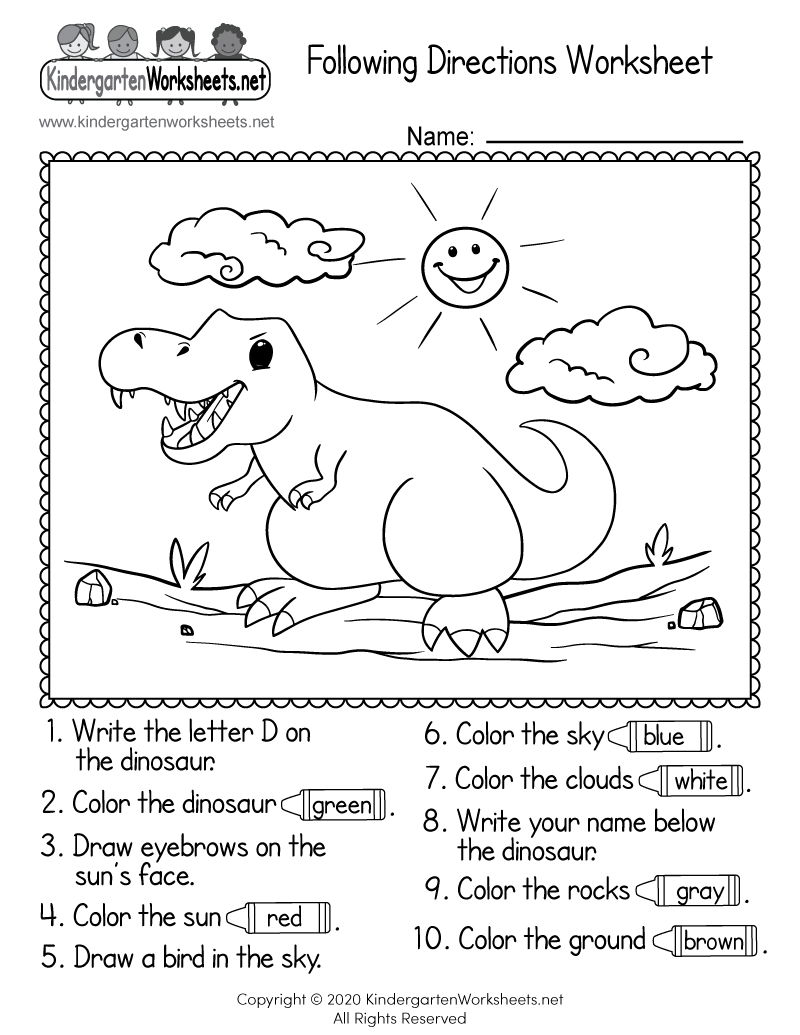 hight resolution of Following Directions Worksheet for Kindergarten - Free Printable