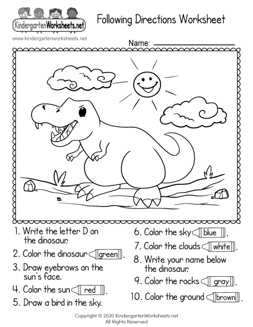small resolution of Following Directions Worksheet for Kindergarten - Free Printable