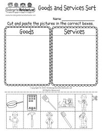 Free Printable Goods and Services Worksheet for Kindergarten