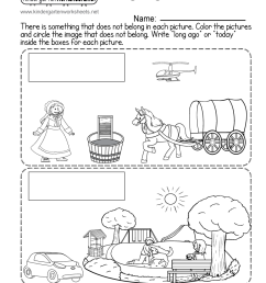 Long Ago and Today - Free Kindergarten Social Studies Worksheet [ 1035 x 800 Pixel ]