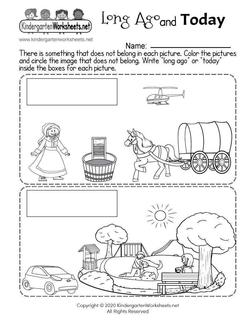 medium resolution of Long Ago and Today - Free Kindergarten Social Studies Worksheet