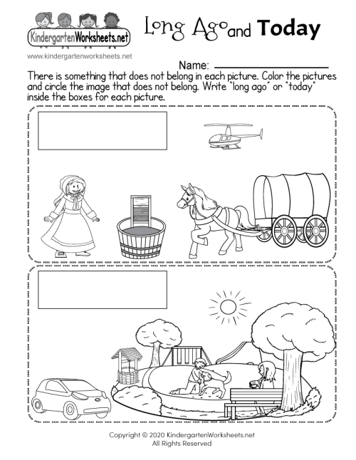 small resolution of Long Ago and Today - Free Kindergarten Social Studies Worksheet