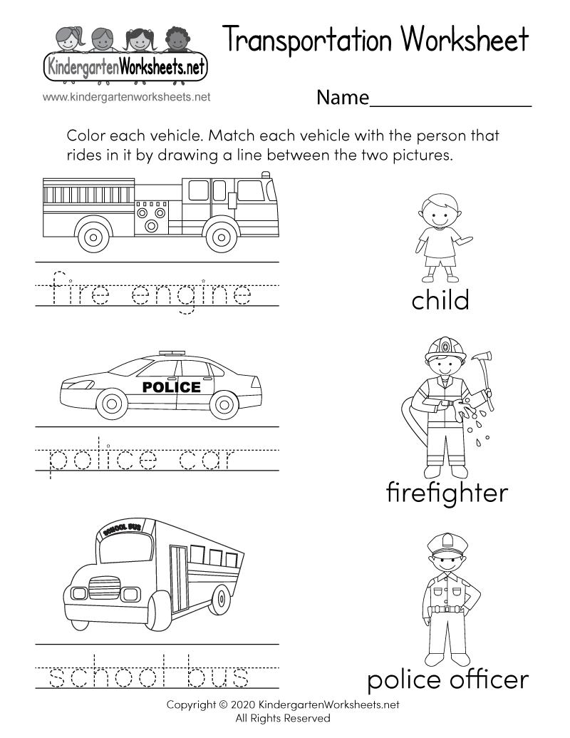 hight resolution of Transportation Worksheet for Kindergarten - Free Printable