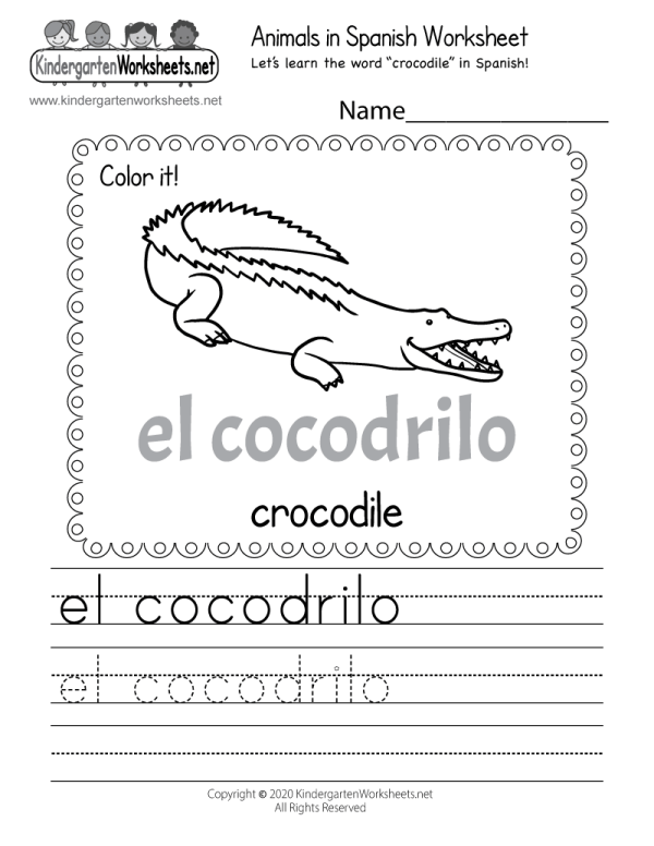 Printable Spanish Worksheet - Free Kindergarten Learning
