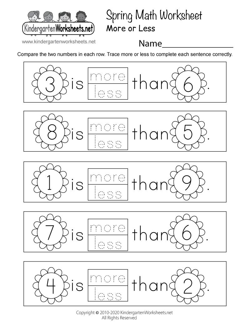 medium resolution of Spring Math Worksheet for Kindergarten - More or Less