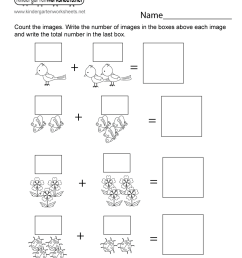 Spring Addition Worksheet for Kindergarten - Adding Pictures [ 1035 x 800 Pixel ]