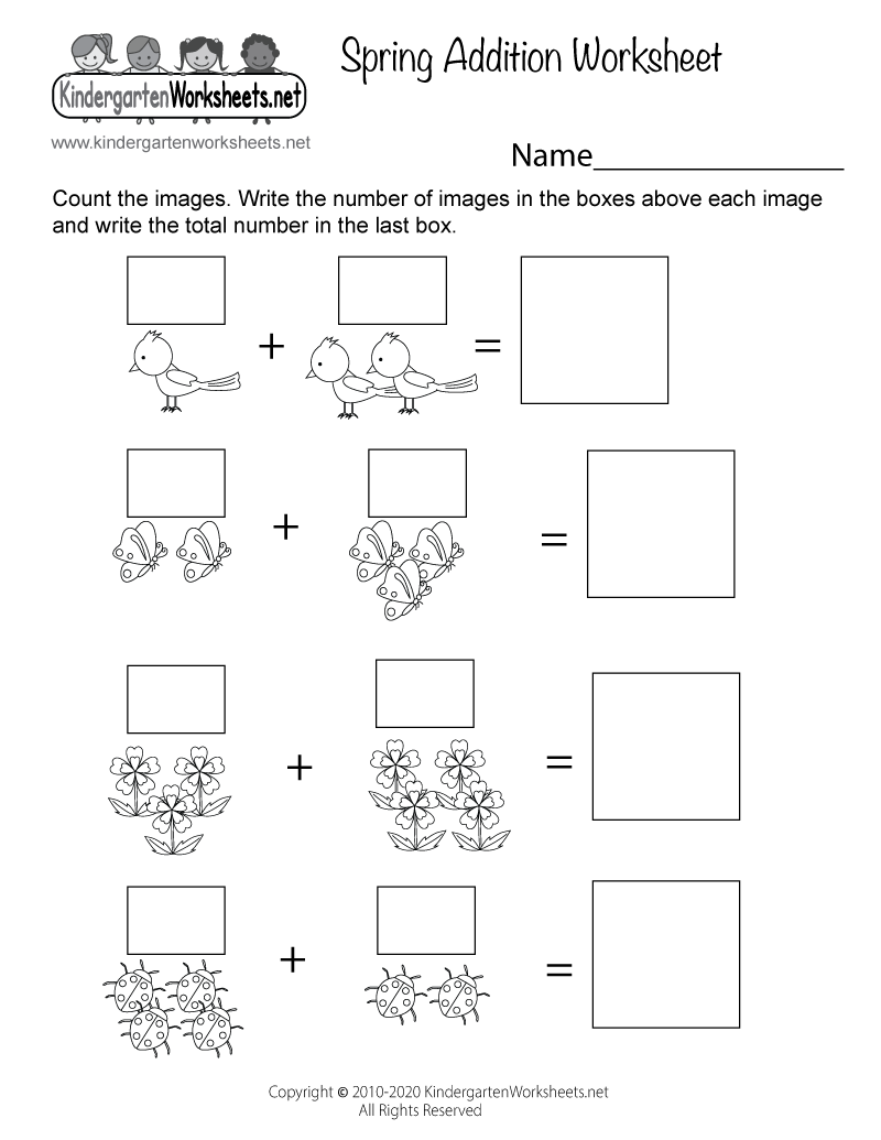medium resolution of Spring Addition Worksheet for Kindergarten - Adding Pictures