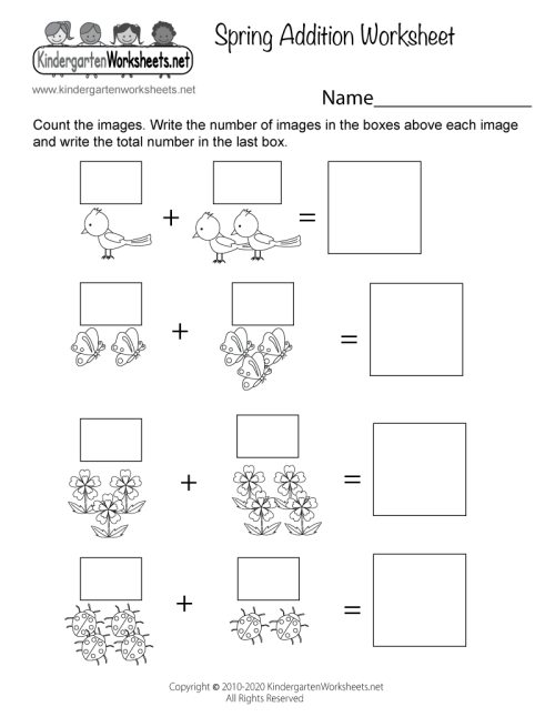 small resolution of Spring Addition Worksheet for Kindergarten - Adding Pictures