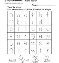 Spring English Worksheet for Kindergarten - Word Search [ 1035 x 800 Pixel ]