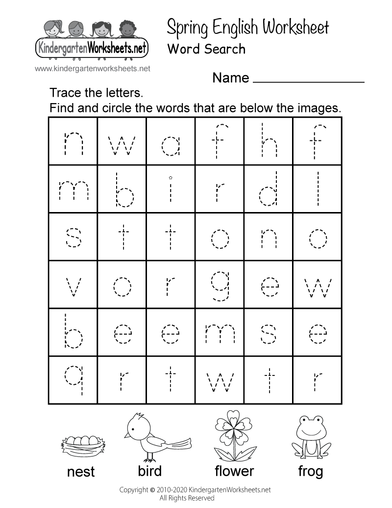 medium resolution of Spring English Worksheet for Kindergarten - Word Search