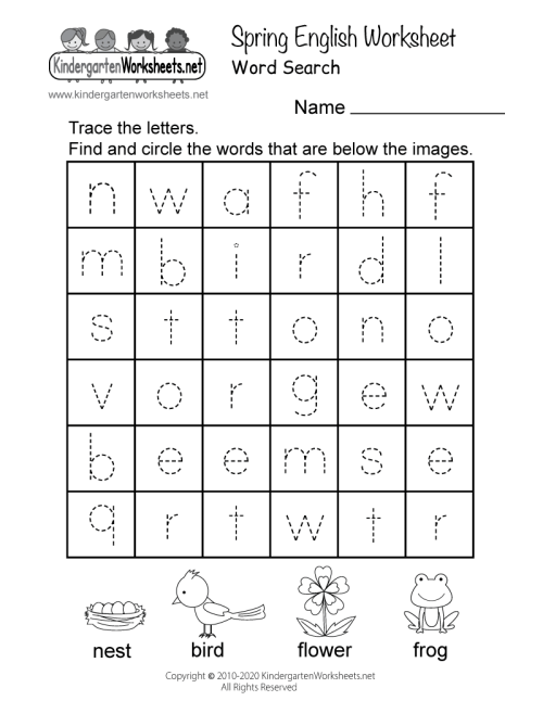 small resolution of Spring English Worksheet for Kindergarten - Word Search