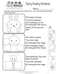 Spring Reading Worksheet - Free Kindergarten Seasonal ...