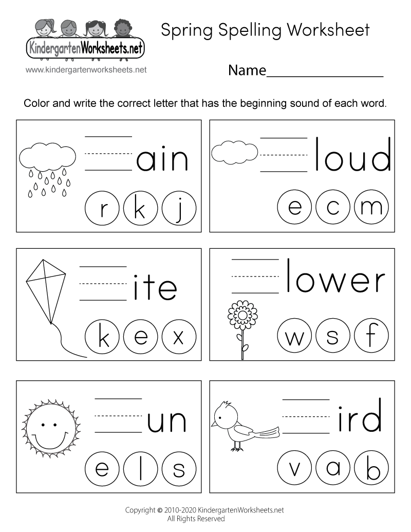 medium resolution of Spring Spelling Worksheet for Kindergarten - Beginning Sounds