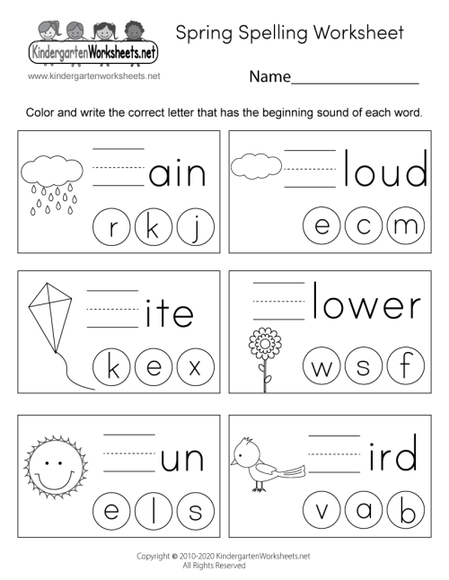 small resolution of Spring Spelling Worksheet for Kindergarten - Beginning Sounds