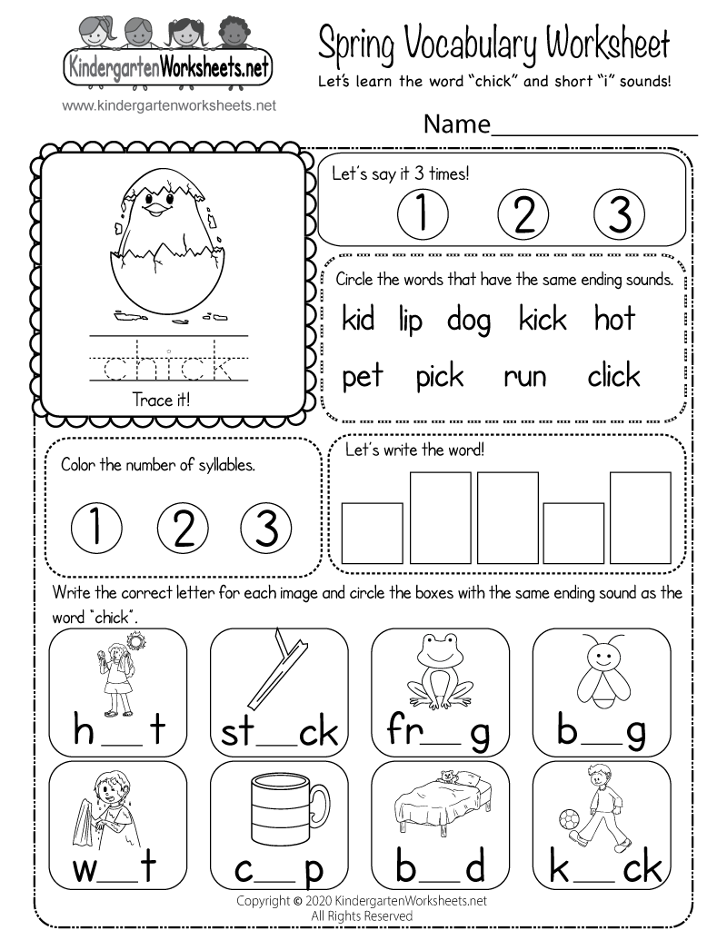 medium resolution of Spring Vocabulary Worksheet - Learn a New Word and Vowel Sounds