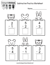 Subtracting Math Practice Worksheet - Free Kindergarten ...