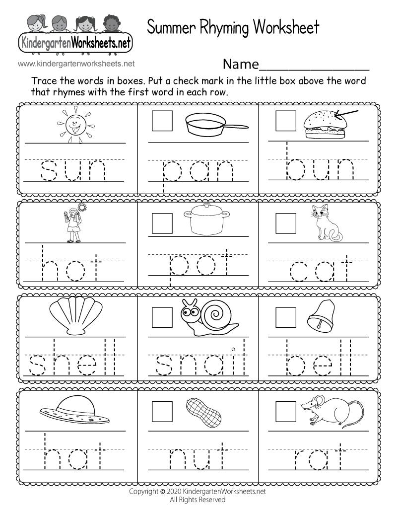 hight resolution of Summer Rhyming Worksheet for Kindergarten - Free Printable