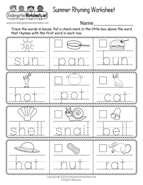 small resolution of Summer Rhyming Worksheet for Kindergarten - Free Printable