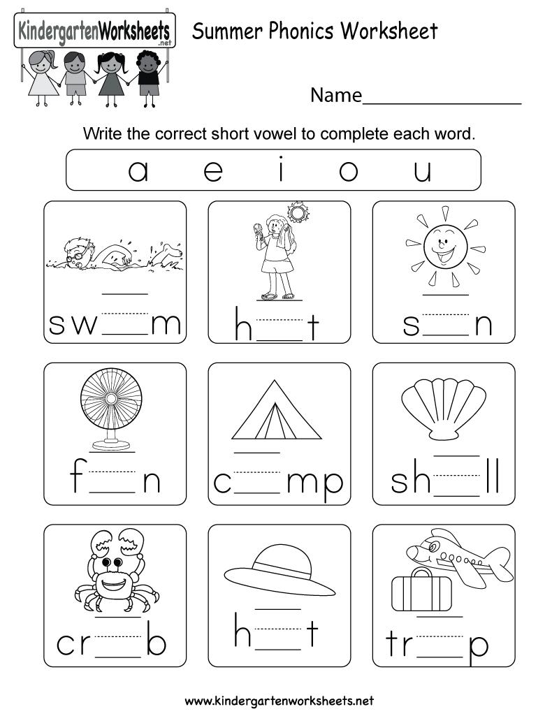 medium resolution of Summer Phonics Worksheet for Kindergarten (Free Printable)