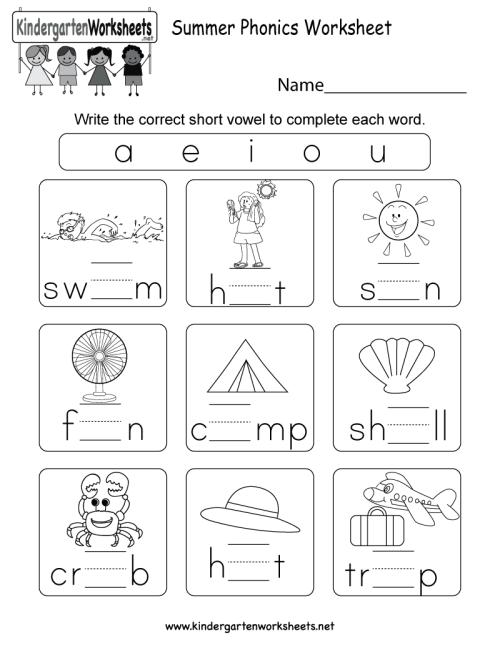 small resolution of Summer Phonics Worksheet for Kindergarten (Free Printable)