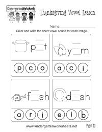 Short Vowel Sounds Worksheet (Thanksgiving Vowel Lesson ...