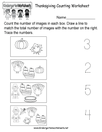 Thanksgiving Counting Worksheet - Free Kindergarten ...