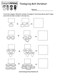 Thanksgiving Math Worksheet - Free Kindergarten Holiday ...