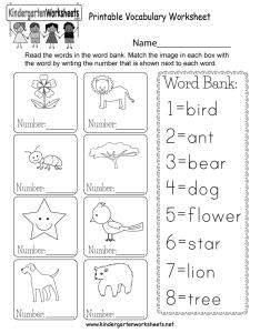 Kindergarten printable vocabulary worksheet also free english rh kindergartenworksheets